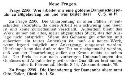 Leipziger Uhrmacher-Zeitung 1910 Nr.02 vom 15.01. S.38 & Nr.03 vom 01. Febr. S.54
