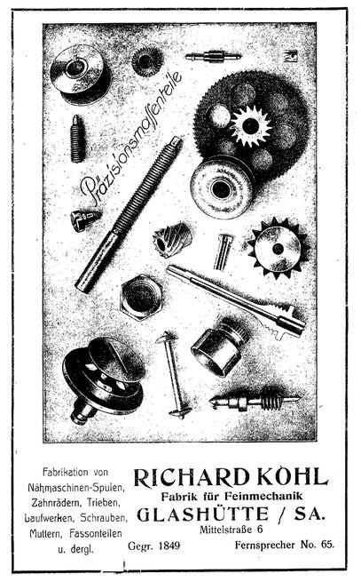 Werbeanzeige in Saxonia Heft 23 von 1923