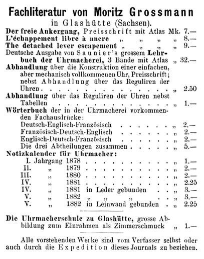 Anzeige im Allgemeinen Journal der Uhrmacherkunst vom Januar 1882
