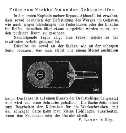 Quelle: Allgemeines Journal der Uhrmacherkunst Nr. 11 vom 12. März 1881 S. 84