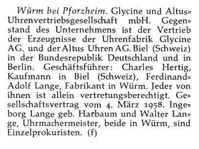 Quelle: Neue Uhrmacher-Zeitung, Nr. 09 vom 15.05.1958, S. 43