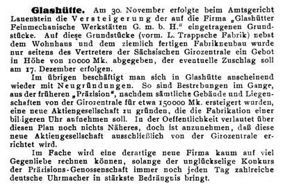 Quelle: Die uhrmacherkunst Nr. 50 v. 10. Dez. 1926 S. 968