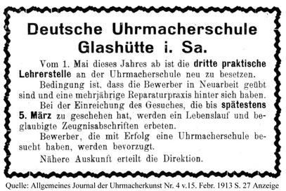 Stellenausschreibung der Deutschen Uhrmacherschule 1913