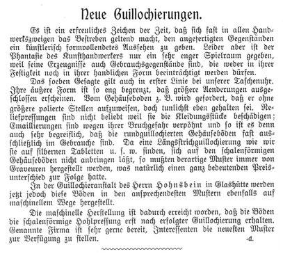 """Quelle: """"Saxonia"""" Bericht für die alten Herren der Schülervereinigung """"Saxonia"""" der Deutschen uhrmacherschule in Glashütte Nr.2 vom Juli 1905 S.25/26"""