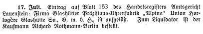 Quelle: Saxonia Heft 23 vom Dez.1922 S. 29