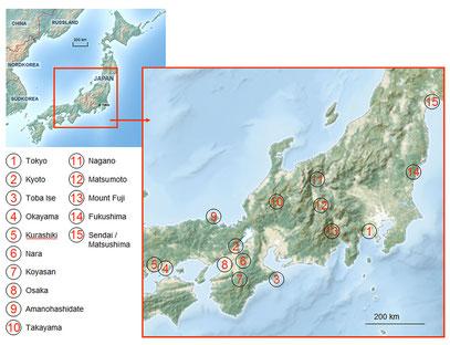 Die Stationen unserer Japanreise im Frühjahr 2014