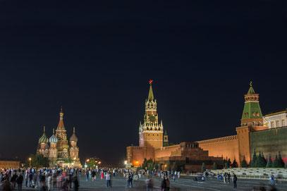Moskau - Roter Platz mit Basilius Kathedrale, Kremlmauer und dem LeninMausoleum