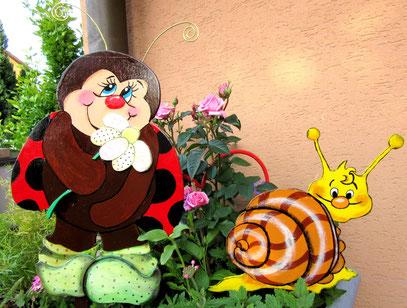 Coccinelle et l escargot en bois pour le jardin
