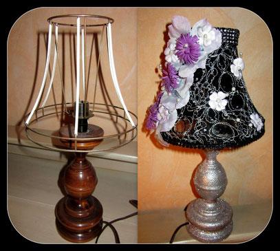 "Lampe de chevet "" Baroque "" relookée en dentelle noir"