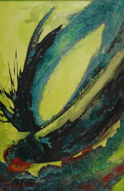 ohne Titel, 40 x 60 cm, Spachtelmasse, Tusche, Pigmente, Acrylfarbe