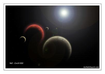 """""""Planète rouge et satellites 1"""" Réf : Cre14 002"""