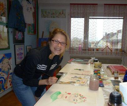 Christa hat ihr erstes Portrait gemalt