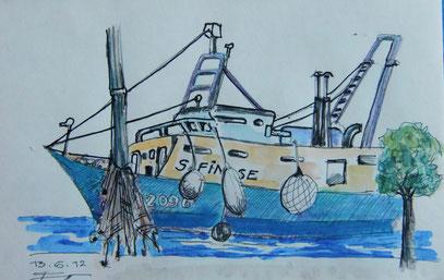 GRADO Fischerboot Aquarell