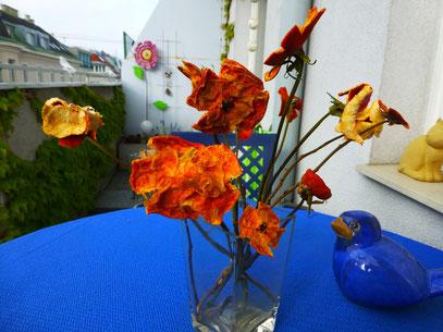 Blüten aus Mandarinenschalen auf getrockneten Rosenstielen