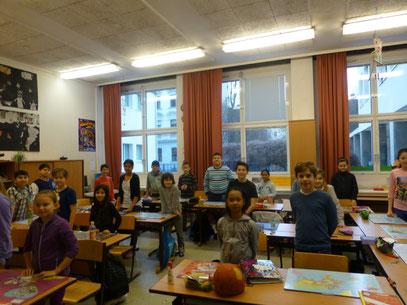 Schüller der 4. Klasse mit Begeisterung bei dem Projekt dabei.
