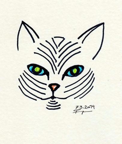 Katzenkopf grafisch reduziert