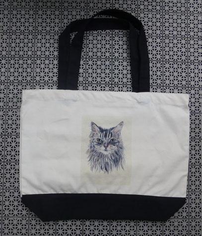 Tasche mit einer meiner Katzenzeichnungen