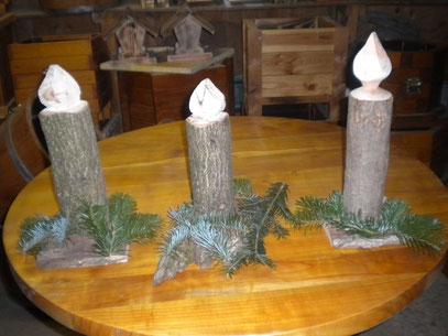 Deko-Kerze aus Holz