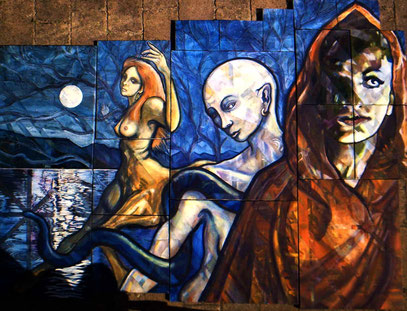 "3 GODDESSES. 50""x 36""approx. oil on canvasses. £3960.00."
