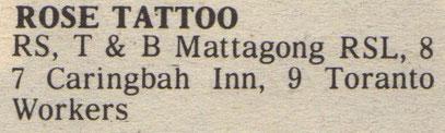 Tourdates June 1985