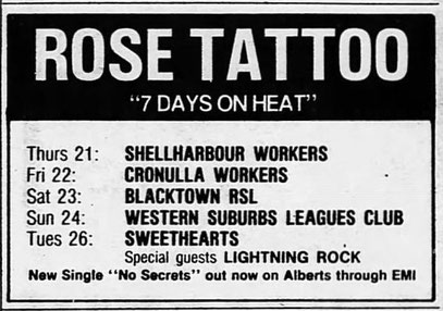 ,,7 Days on Heat `` SMH 22. February 1985 Page 37 - AD