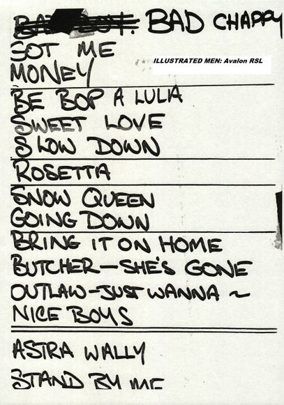 Set-List from David Williams
