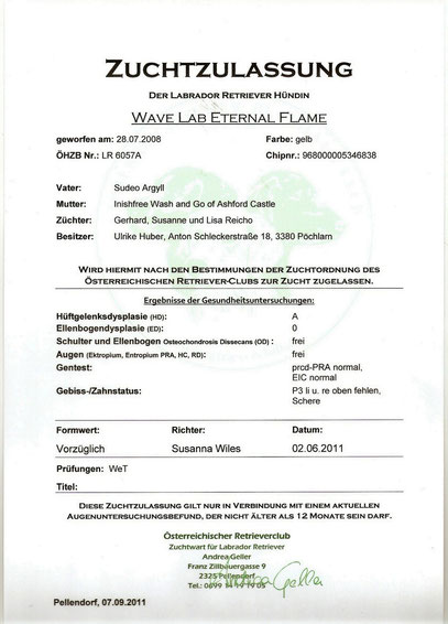 Zuchtzulassung Wave Lab Eternal Flame