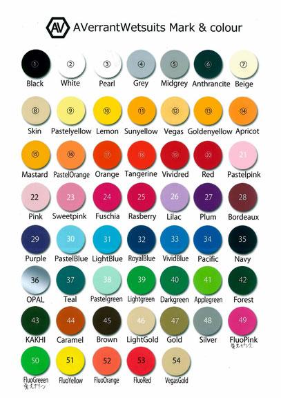 ウェットスーツ・ロゴマークの色見本です。