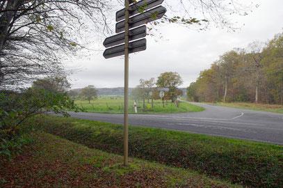 Deutscheck - nach links führt die D66 in Richtung Azannes. Bildmitte: Im Hintergrund der Romagne-Rücken