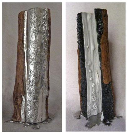 NOIR BLANC (face et dos)  Branche ouverte,Feuilles d'argent, carborandite H: 35 cm  Collection particulière