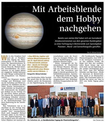 Pressebericht, Bremervörder Zeitung (Klicken für Vergrößerung)