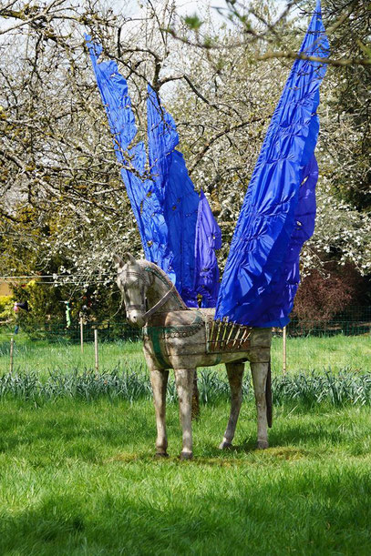 Blue wingend horse was made for the garden of Le Mouline Jeune in Summer 2016.  www.youtube.com/watch?v=zd0PfOopgQM