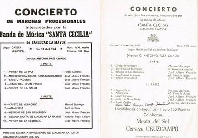 Conciertos de la banda años 83 y 84, al maestro Páez le gustaba el director de la Municipal José Albero Francés. Precios de entrada a 150 pesetas y al año siguiente por la crisis 100 pesetas