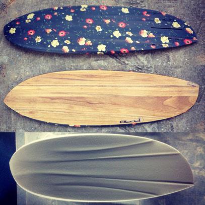Asymmetrical surfboard paulownia wood