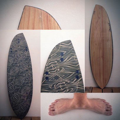 """#274 Hippo Clito 5'9"""" An asymmetrical regular version of the Hippo Clito featuring belly to single to double to V double concave and on the heel side: - Shorter and rounder tail outline - Fuller rail - Fin set a touch higher - Slightly less tail rocker"""