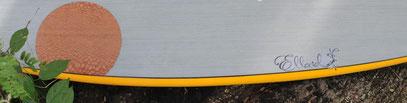 Elleciel custom surfboard Circle lacewood