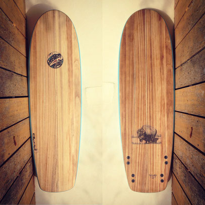 Mini Simmons quad wood surfboard