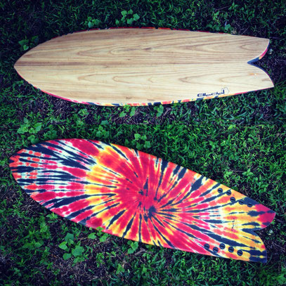 Fish surfboard paulownia wood