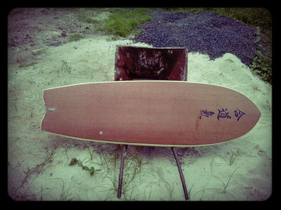 Mini simmons quad Elleciel Custom Surfboards Phuket Thailand wood