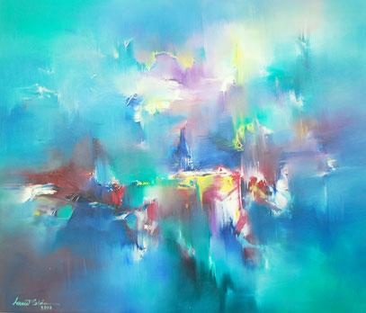 Blaues abstraktes Gemälde