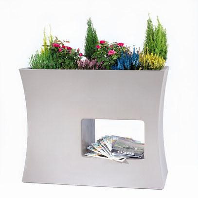 double jardinière design, jardinières design, jardiniere design, bacs à fleurs, bac a fleurs, delimitateur de restautant, delimitateur de terrasse