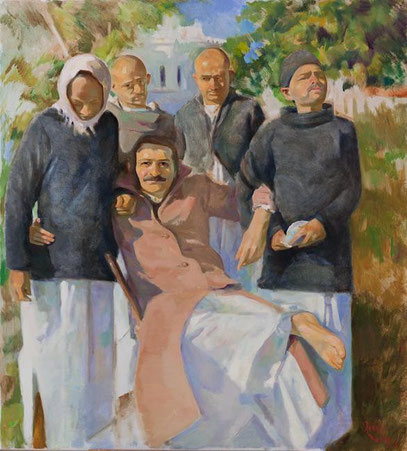 Meher Baba with the Four Masts Bangalore, January 1940 ; Artist - Gregg Rosen