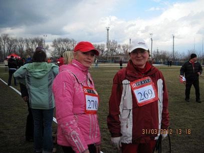 Лена Голубицкая и я на старте...