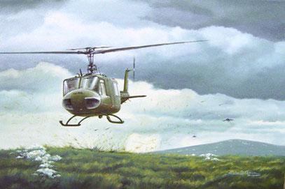 El helicoptero bajo el asedio de los Harriers