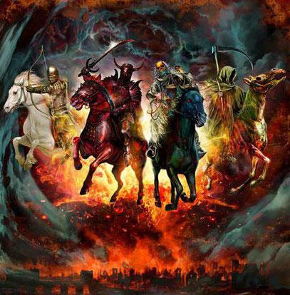 """Que fait Jésus """"en compagnie"""" de cavaliers qui n'apportent que calamités aux habitants de la terre ?  Une prophétie (Apocalypse ch 12) associe également Jésus aux puissances maléfiques. L'avènement du Royaume va chasser Satan et ses démons."""