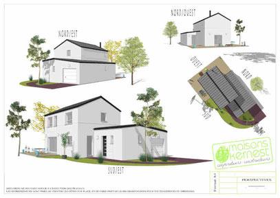 maison moderne/traditionnelle de plain pied/à étage avec un enduit