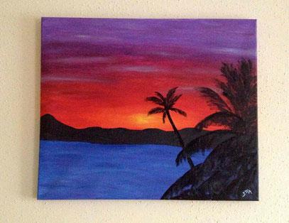 palmtree sunset - Februar 2013 (50x60cm)