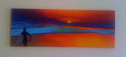 sunset sufring - Februar 2012 (30x80cm)