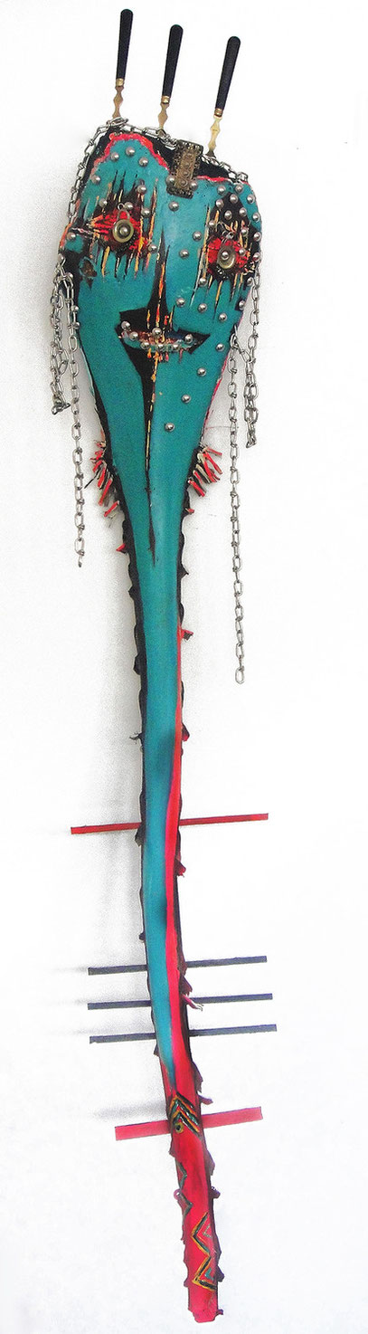 Ange bleu - Blue Angel - H 140 cm - bois tech. mixte