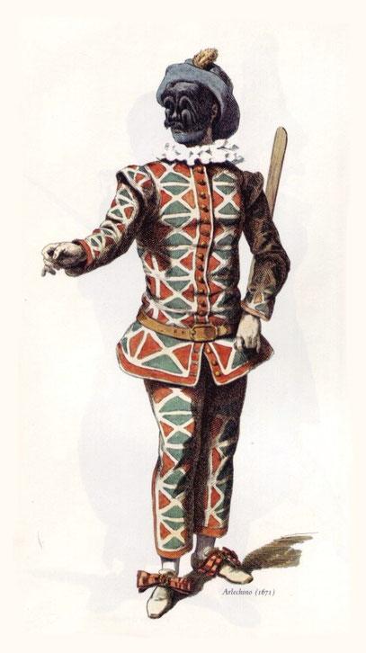 arlecchino una delle più antiche e note  maschere di Carnevale
